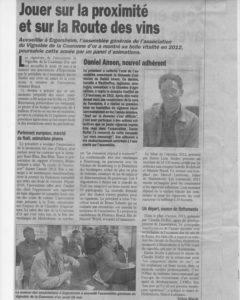Article du 31 mai 2013 dans l'hebdo EAV
