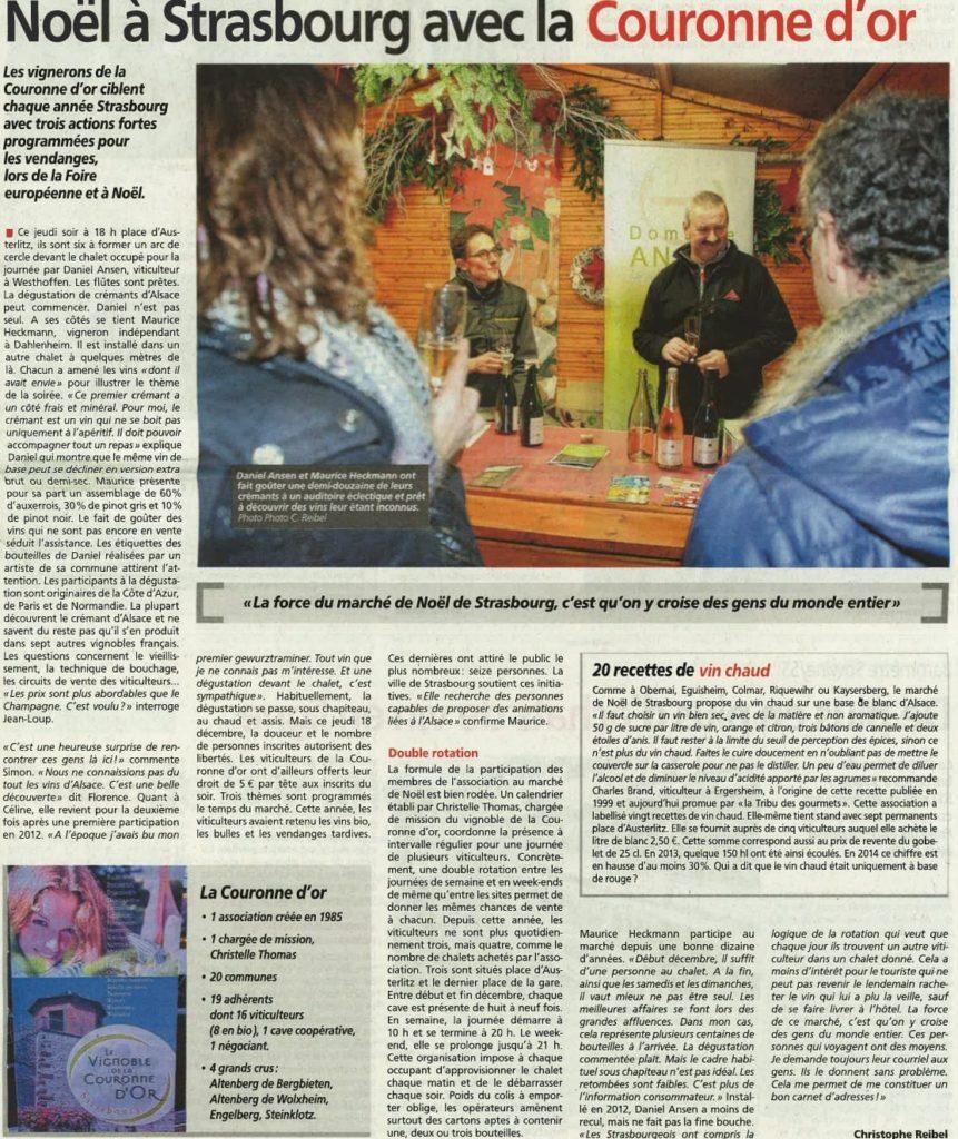 Reportage dans l'hebdo PHR - janvier 2015